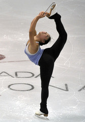 Nagasu of the U.S. skates during the practice session at Skate Canada International in Mississauga