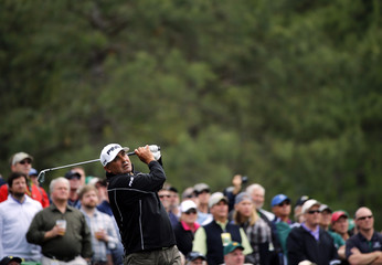 Golfer Angel Cabrera of Argentina hits off the 12th tee during a practice round at the Augusta National Golf Club in Augusta