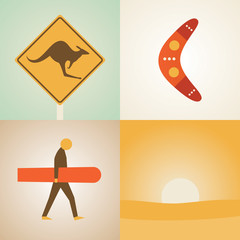 Vector illustration icon set of Australia: kangaroo, boomerang, surfing, nature