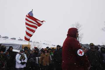 """Veterans gather for a briefing inside of the Oceti Sakowin camp as """"water protectors"""" continue to demonstrate against plans to pass the Dakota Access pipeline adjacent to the Standing Rock Indian Reservation, near Cannon Ball, North Dakota"""
