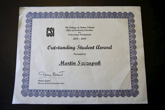 A college award certificate for Martin Szczupak, who died of a drug overdose in upstate New York, is seen at his mothers home in the Staten Island borough of New York