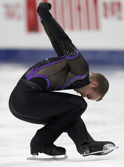 Van Der Perren of Belgium performs during men's short program competition at ISU World Figure Skating Championships in Moscow