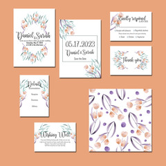 Template cards set with watercolor flowers and plants; wedding design for invitation, Save the date card, RSVP, Thank you card, Wishing Well card,  for anniversary day