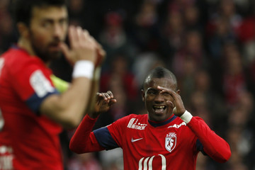 Lille's Kalou reacts after missing a goal against Nantes during their French Ligue 1 soccer match in Villeneuve d'Ascq