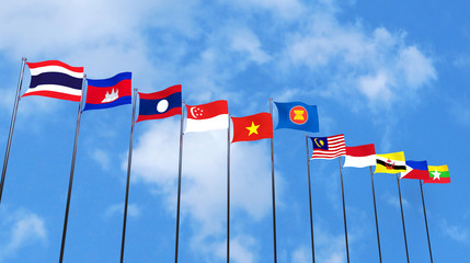 3D rendering of asean country's flags on sky