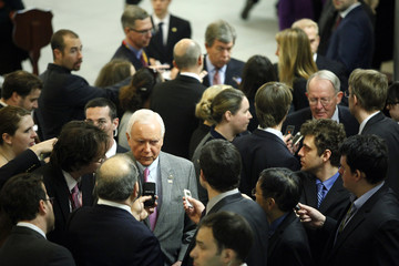 Hatch, Blunt and Alexander are interviewed by reporters as they arrive for the weekly Senate Republican caucus luncheon at the U.S. Capitol in Washington