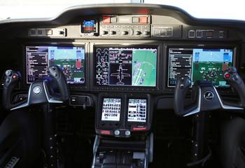 Cockpit of Honda Motor's HondaJet business airplane is seen inside the plane at Honda Aircraft Company in Greensboro, North Carolina, U.S.