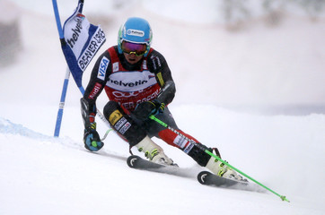 Ligety of the U.S. skis to the fastest time during the first run of the Men's World Cup Giant Slalom ski race in Beaver Creek