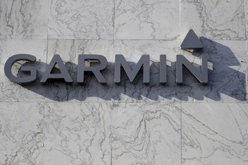 A Garmin logo is pictured on a building along the Lincoln Road Mall in Miami Beach