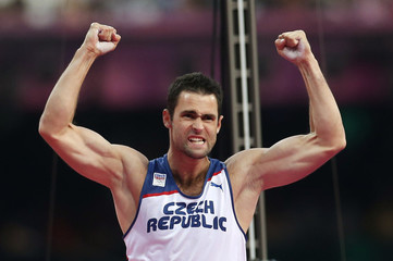 Czech Republic's Jan Kudlicka reacts as he competes in the men's pole vault final at the London 2012 Olympic Games