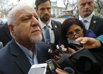 Iran's Oil Minister Zangeneh talks to journalists as he arrives at his hotel ahead of a meeting of OPEC oil ministers in Vienna