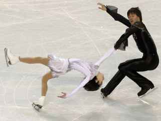 Kavaguti and Smirnov of Russia perform during the pairs short program at the European Figure Skating Championships in Tallinn