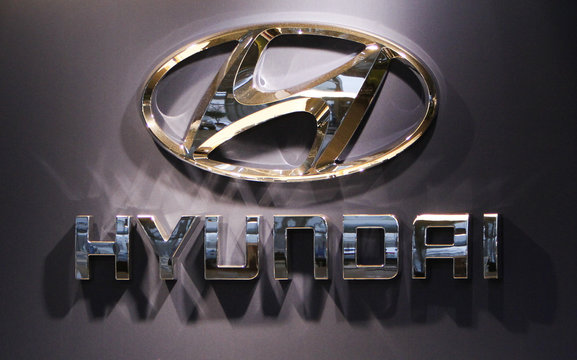 A Hyundai logo is pictured at the showroom in Budapest