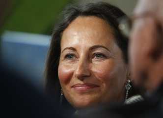 Segolene Royal, French Socialist Party politician and Poitou-Charentes regional president, delivers a speech to present her New Year wishes to journalists in Poitiers