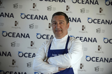 """Chef Joan Roca poses during the presentation on the """"Save the Ocean Feed the World"""" campaign at the Basque Culinary Centre in San Sebastian"""