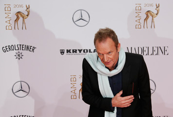 Musician Sting arrives on the red carpet for the Bambi 2016 media awards ceremony in Berlin