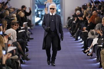 German designer Karl Lagerfeld appears at the end of his Haute Couture Spring-Summer 2012 fashion show  for French fashion house Chanel in Paris