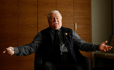 Nobel Peace Prize Laureate Lech Walesa, former president of Poland, looks on after an interview with Reuters at the hotel in Arlamow