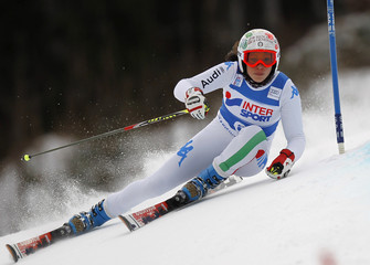 Brignone of Italy clears a gate during the women's giant slalom World Cup race in Kranjska Gora