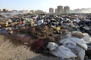 A view of a rubbish heap in the centre of the eastern city of Benghazi