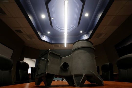"""A 3-D printed """"OxFab"""" air revitalization system duct for Boeing's manned Starliner spacecraft made of """"OXPEKK"""" material by an EOS 3-D printer unit is seen at Oxford Performance Materials Inc., in South Windsor, Connecticut"""