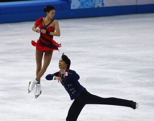 Pang Qing and Tong Jian during pairs free skating at the Sochi 2014 Winter Olympics