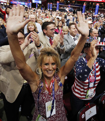 Delegates cheer during nomination voting at the Republican National Convention in Cleveland
