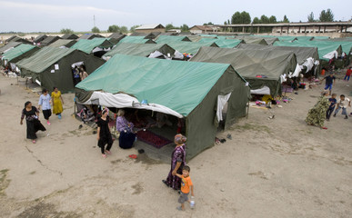 A general view shows a refugee camp for ethnic Uzbeks, fled from clashes in Osh, in the village of Yorkishlak