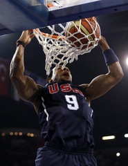 USA's Iguodala dunks the ball duirng their FIBA Basketball World Championship game against Slovenia in Istanbul