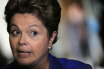 Brazil's President Rousseff speaks to press after a meeting of the Brazilian Forum on Climate Change in Brasilia