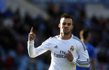 Real Madrid's Jese celebrates his goal against Getafe during their Spanish first division soccer match at Coliseum Alfonso Perez stadium in Getafe