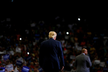 Republican presidential nominee Donald Trump attends a campaign event at the Jacksonville Veterans Memorial Arena in Jacksonville