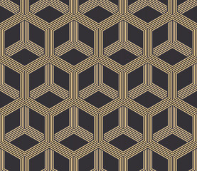 Seamless antique palette black and gold hexagonal op art striped illusion pattern vector
