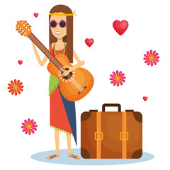 Hippie woman playing guitar with flowers and hearts over white background. Vector illustration.