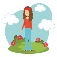 Hippie brunette woman with flowers and blue sky over white background. Vector illustration.