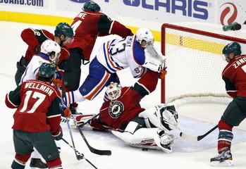 Edmonton Oilers right wing Ales Hemsky falls over Minnesota Wild goalie Niklas Backstrom in St. Paul