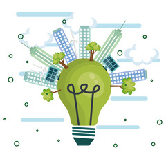 Green light bulb and city skyline with solar panels over white background. Vector illustration.