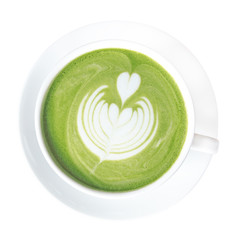 Hot green tea matcha latte cup with beautiful milk foam latte art on top isolated on white background, clipping path included.