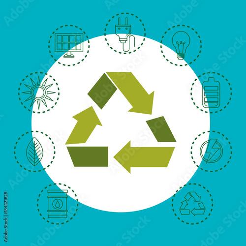 Arrow Recycling Symbol With Hand Drawn Eco Friendly Object Stickers