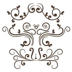 Set of ornamental borders over white background. Vector illustration.