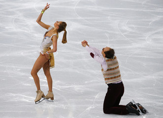 Germany's Nelli Zhiganshina and Alexander Gazsi  compete during the Figure Skating Ice Dance Free Dance Program at the Sochi 2014 Winter Olympics
