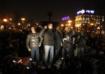 Opposition leader Udaltsov speaks to supporters during a protest demanding fair elections in central Moscow