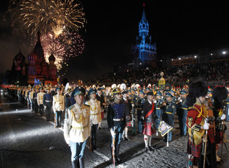Military bands from different countries stand at the Red Square during the International Military Music Festival in Moscow