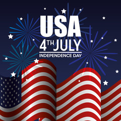 Waving american flag with fireworks and USA 4th july sign over blue background.  Vector illustration.