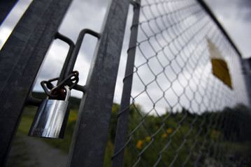 A lock is seen on the long rifle range at the Skytterkollen shooting range in Eidsmarka village near Oslo