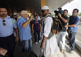 William Potts enters Havana's Jose Marti International Airport, before boarding a plane to the U.S.