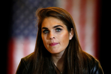 Hope Hicks, communication director for U.S. Republican presidential candidate Donald Trump is pictured following a news conference at Trump Tower in the Manhattan borough of New York