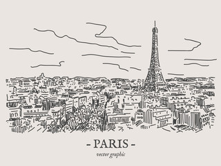 Paris city retro vintage vector drawing on gray backgtound