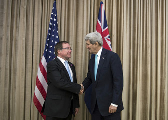 U.S. Secretary of State John Kerry and New Zealand Foreign Minister Murray McCully meet on the sidelines of the Asia-Pacific Economic Cooperation (APEC) meeting in Beijing