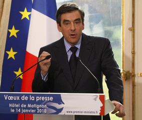 France's Prime Minister Francois Fillon delivers his New Year speech to the media in Paris